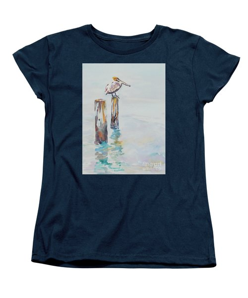 Women's T-Shirt (Standard Cut) featuring the painting Waiting For Lunch by Mary Haley-Rocks