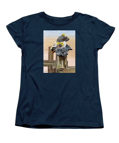 Women's T-Shirt (Standard Cut) featuring the painting Waiting On The Tide by Phyllis Beiser