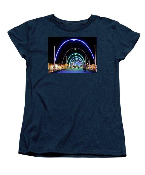 Women's T-Shirt (Standard Cut) featuring the photograph Walk Along The Floating Bridge, Willemstad, Curacao by Kurt Van Wagner