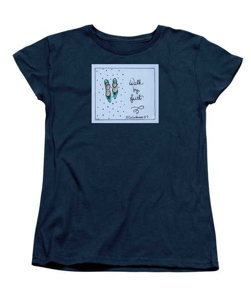 Women's T-Shirt (Standard Cut) featuring the painting Walk By Faith by Elizabeth Robinette Tyndall