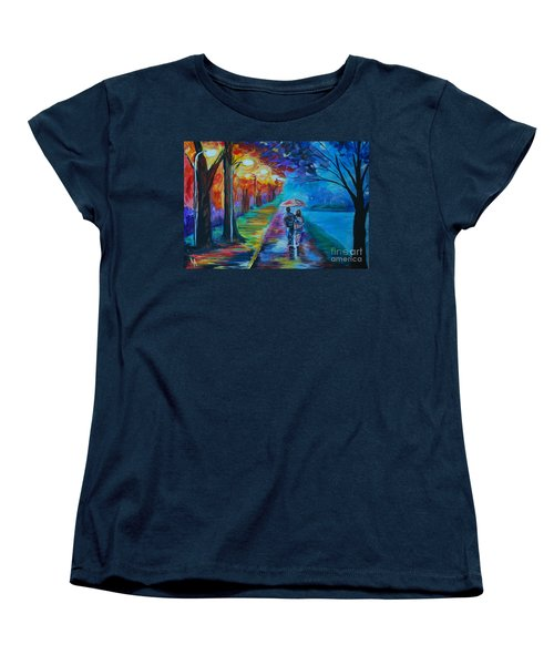 Women's T-Shirt (Standard Cut) featuring the painting Walk By The Lake  by Leslie Allen