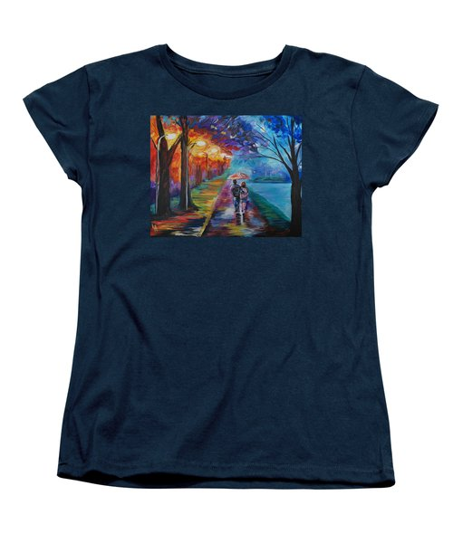 Women's T-Shirt (Standard Cut) featuring the painting Walk By The Lake Series 1 by Leslie Allen