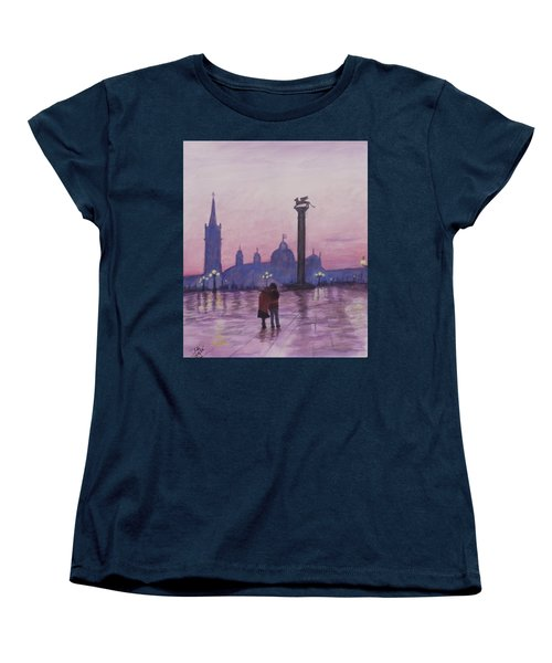 Women's T-Shirt (Standard Cut) featuring the painting Walk In Italy In The Rain by Dan Wagner