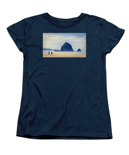 Women's T-Shirt (Standard Cut) featuring the painting Walk On The Beach by Jeff Kolker