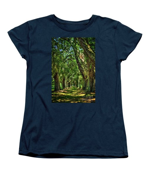 Women's T-Shirt (Standard Cut) featuring the photograph Walk With Me Avenue Of Oaks St Simons Island Art by Reid Callaway
