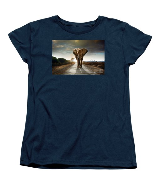 Walking Elephant Women's T-Shirt (Standard Cut) by Carlos Caetano