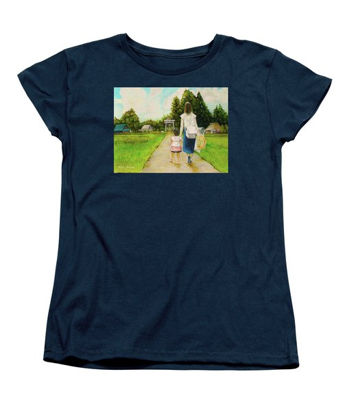 Women's T-Shirt (Standard Cut) featuring the drawing Walking To The Shrine by Tim Ernst