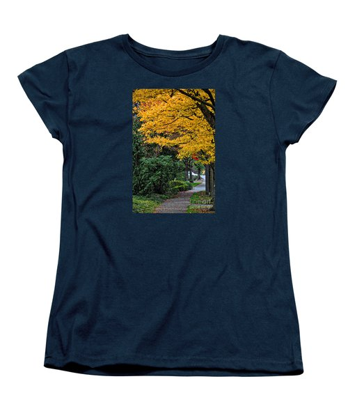 Women's T-Shirt (Standard Cut) featuring the photograph Walkway Under A Canopy Of Yellow by Kirt Tisdale
