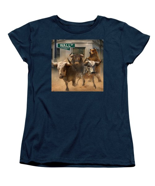 Women's T-Shirt (Standard Cut) featuring the painting Wall Street -- Bull And Bear Markets by Doug Kreuger