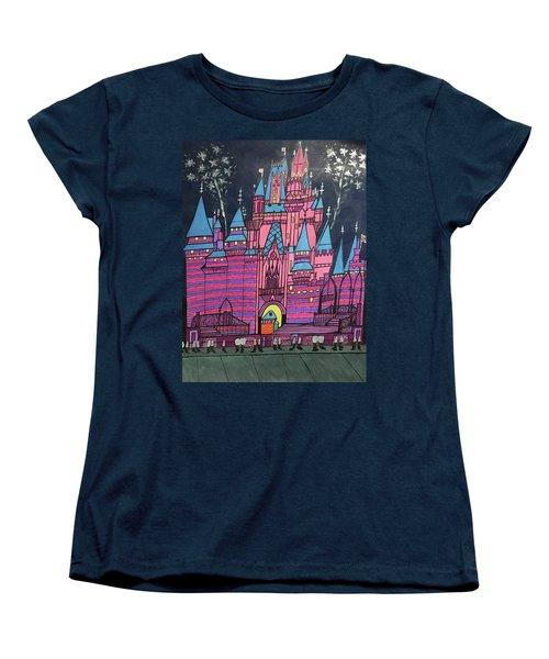 Women's T-Shirt (Standard Cut) featuring the painting Walt Disney World Cinderrela Castle by Jonathon Hansen