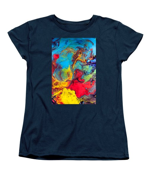 Wanderer - Abstract Colorful Mixed Media Painting Women's T-Shirt (Standard Cut) by Modern Art Prints