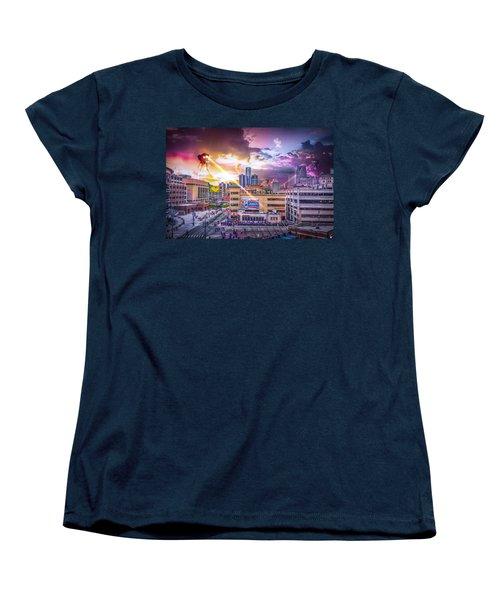 Women's T-Shirt (Standard Cut) featuring the photograph War Of The Worlds Detroit By Nicholas Grunas by Nicholas  Grunas