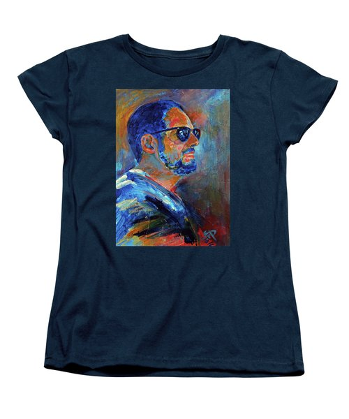 Women's T-Shirt (Standard Cut) featuring the painting Warren Gazing At The Surf by Walter Fahmy