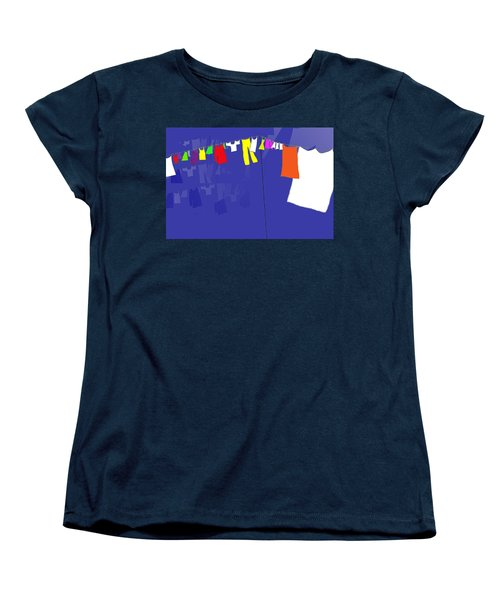 Women's T-Shirt (Standard Cut) featuring the digital art Washing Line by Barbara Moignard