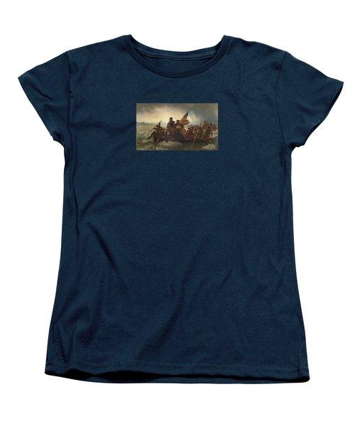Washington Crossing The Delaware Painting  Women's T-Shirt (Standard Cut) by Emanuel Gottlieb Leutze
