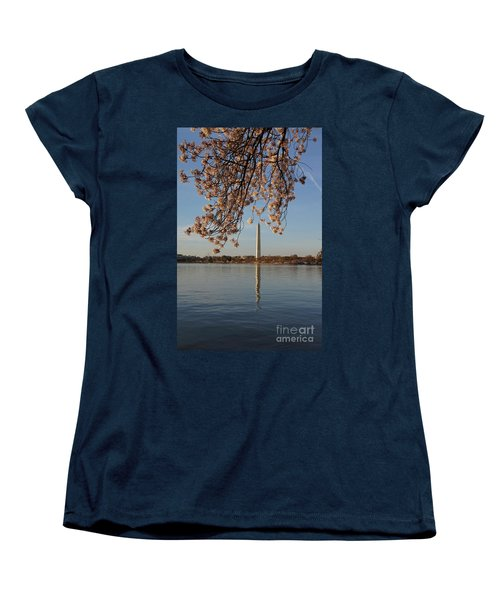Washington Monument With Cherry Blossoms Women's T-Shirt (Standard Cut) by Megan Cohen