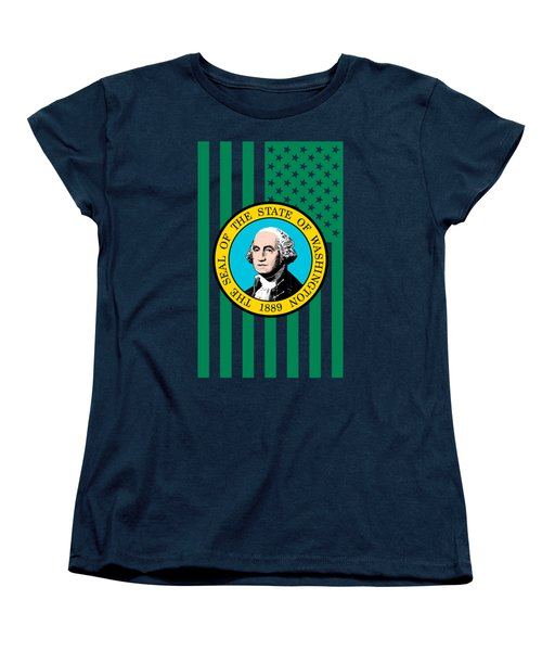 Washington State Flag Graphic Usa Styling Women's T-Shirt (Standard Cut)