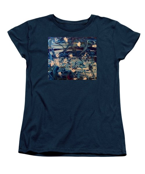 Women's T-Shirt (Standard Cut) featuring the painting Water Garden Beyond Flight by Kicking Bear Productions