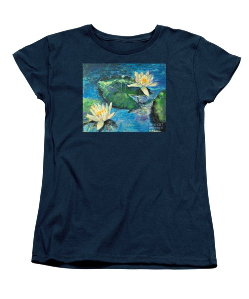 Women's T-Shirt (Standard Cut) featuring the painting Water Lilies by Ana Maria Edulescu