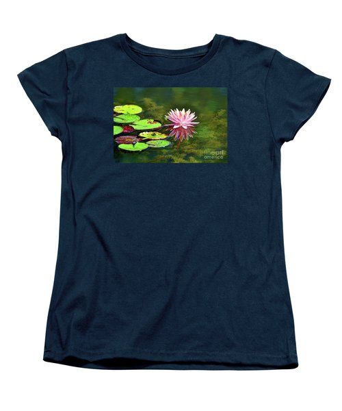 Water Lily And Frog Women's T-Shirt (Standard Cut) by Savannah Gibbs