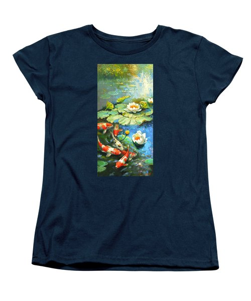 Women's T-Shirt (Standard Cut) featuring the painting Water Lily Or Solar Pond      by Dmitry Spiros