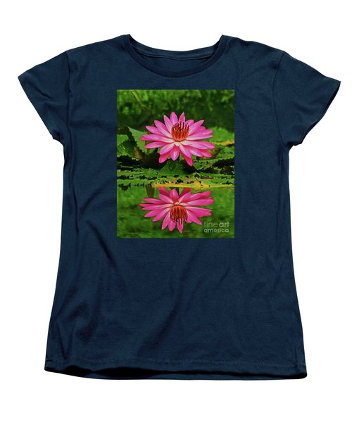 Hot Pink Water Lily Reflection Women's T-Shirt (Standard Cut) by Larry Nieland
