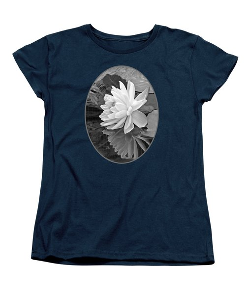 Water Lily Reflections In Black And White Women's T-Shirt (Standard Cut) by Gill Billington