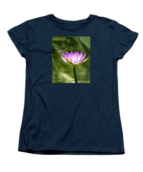 Women's T-Shirt (Standard Cut) featuring the photograph Water Lily With Dragon Fly by Bill Barber