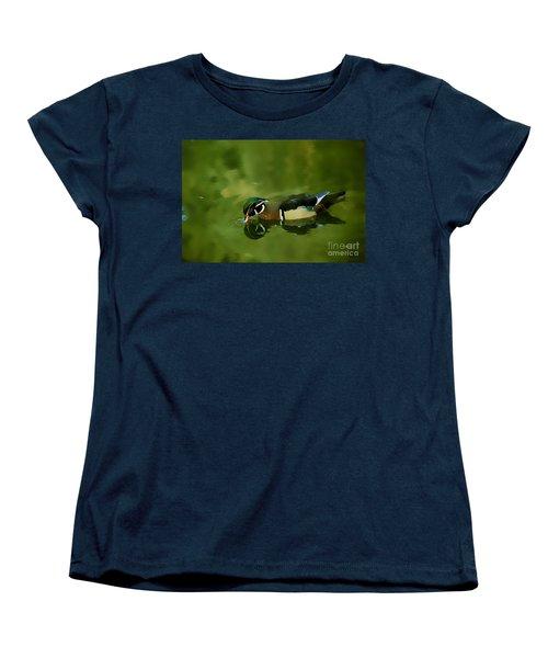 Male Wood Duck Water Reflections Women's T-Shirt (Standard Cut) by Claudia Ellis