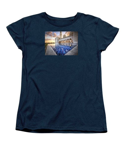 Water Sunset Temple Women's T-Shirt (Standard Cut) by John Swartz