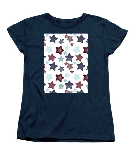 Watercolor Blue Red Stars Women's T-Shirt (Standard Cut) by P S