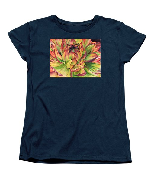 Watercolor Dahlia Women's T-Shirt (Standard Cut) by Angela Armano