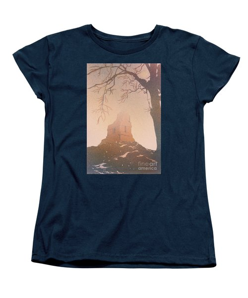 Women's T-Shirt (Standard Cut) featuring the painting Watercolor Painting Of Mayan Temple- Tikal, Guatemala by Ryan Fox