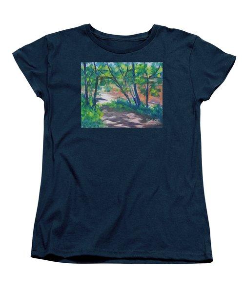 Watercress Beach On The Current River   Women's T-Shirt (Standard Cut) by Jan Bennicoff