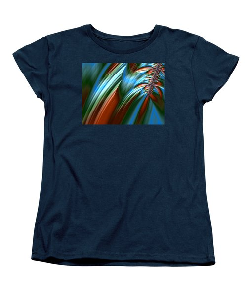 Women's T-Shirt (Standard Cut) featuring the digital art Waterfall Fractal by Bonnie Bruno
