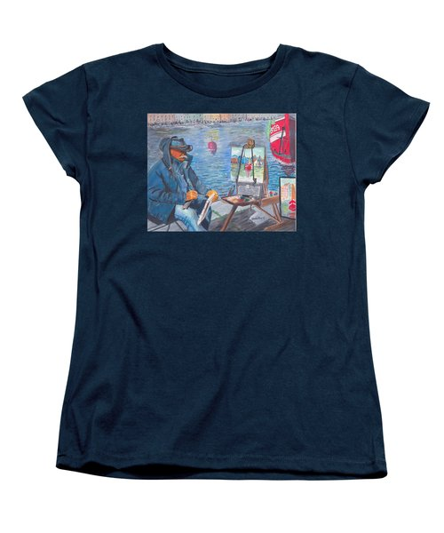 Women's T-Shirt (Standard Cut) featuring the painting Waterfront Artist by Quwatha Valentine