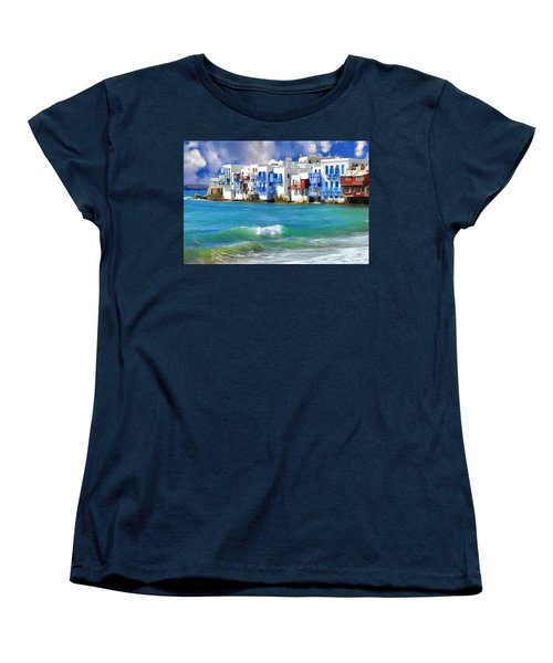Waterfront At Mykonos Women's T-Shirt (Standard Cut) by Dominic Piperata