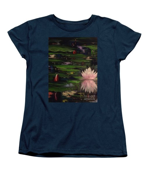 Women's T-Shirt (Standard Cut) featuring the painting Waterlilies - Original Sold by Therese Alcorn
