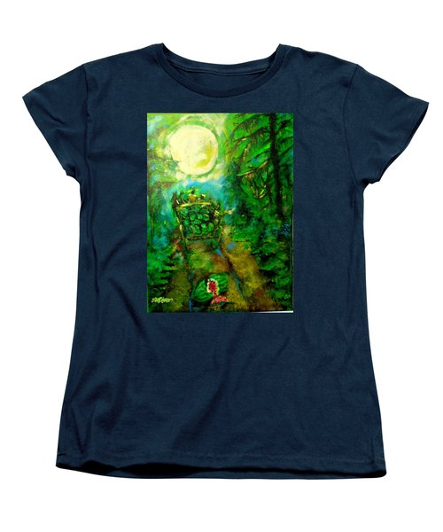 Women's T-Shirt (Standard Cut) featuring the painting Watermelon Wagon Moon by Seth Weaver