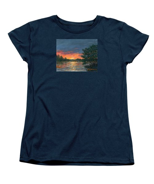 Women's T-Shirt (Standard Cut) featuring the painting Waterway Sundown by Kathleen McDermott