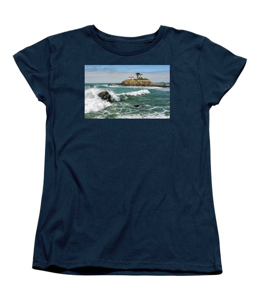 Women's T-Shirt (Standard Cut) featuring the photograph Wave Break And The Lighthouse by Greg Nyquist