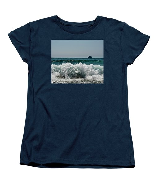 Women's T-Shirt (Standard Cut) featuring the photograph Waves Of Pacific Ocean. Coromandel,new Zealand by Yurix Sardinelly