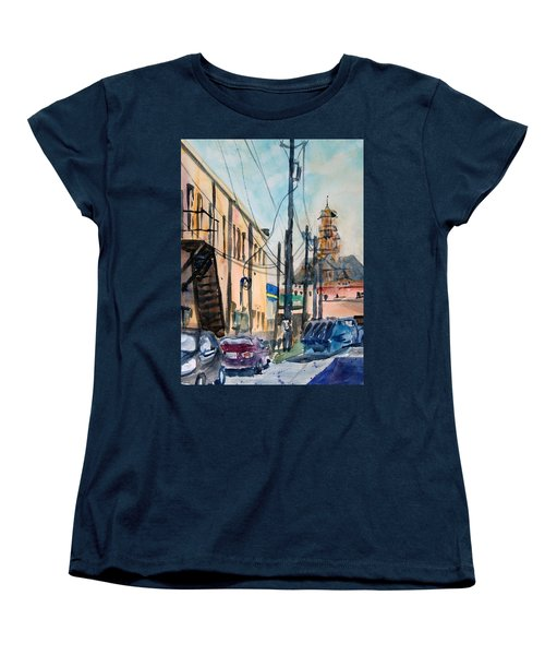 Women's T-Shirt (Standard Cut) featuring the painting Waxahachie Back Alley by Ron Stephens