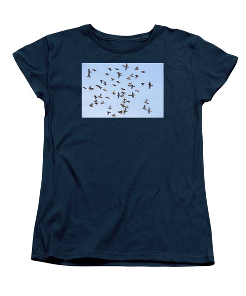 Women's T-Shirt (Standard Cut) featuring the photograph Waxwings by Mircea Costina Photography