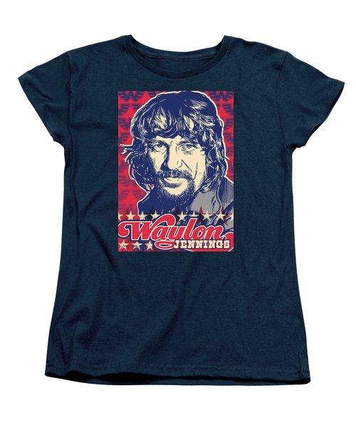 Waylon Jennings Pop Art Women's T-Shirt (Standard Cut) by Jim Zahniser