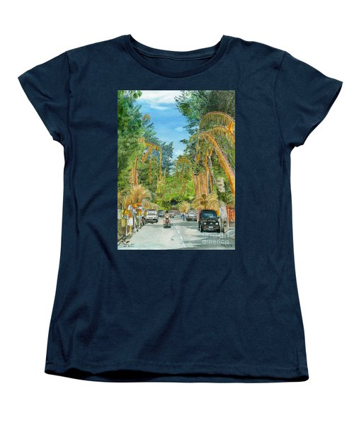 Women's T-Shirt (Standard Cut) featuring the painting Weeping Janur Bali Indonesia by Melly Terpening