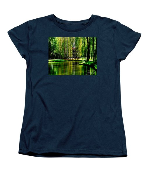 Weeping Willow Tree Reflective Moments Women's T-Shirt (Standard Cut) by Carol F Austin