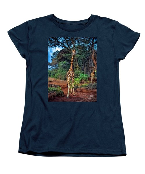 Welcome To Giraffe Manor Women's T-Shirt (Standard Cut) by Karen Lewis