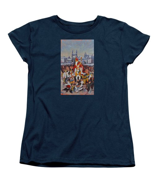 Women's T-Shirt (Standard Cut) featuring the painting Welcoming Saint Nicolas In Maastricht by Nop Briex