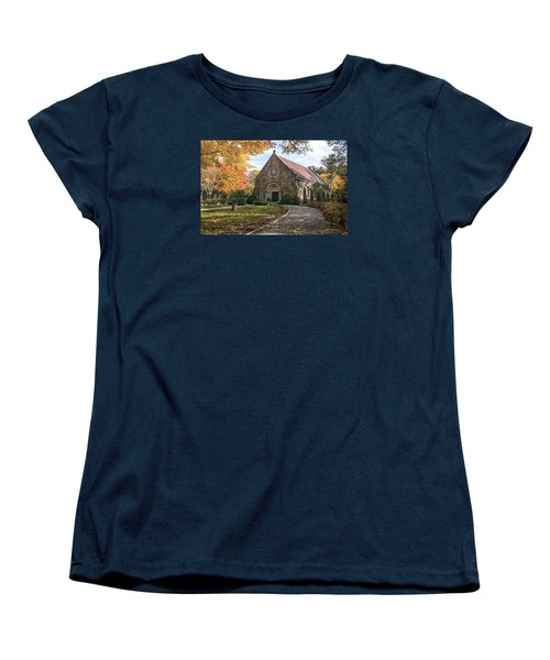 Women's T-Shirt (Standard Cut) featuring the photograph West Parish Chapel In Fall, Andover, Ma by Betty Denise